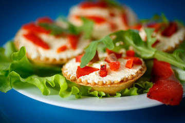 tartlets filled with red fish