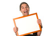 crazy man with white signboard