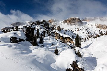 Rocky Mountains on the Skiing Resort of Arabba, Dolomites Alps,