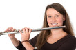 smiling young woman with transverse flute
