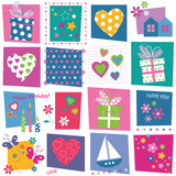 hearts flowers and birthday gifts pattern