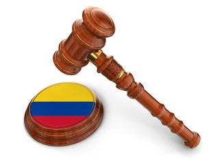 Wooden Mallet and Colombian flag (clipping path included)