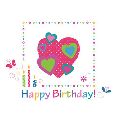 colorful hearts happy birthday card