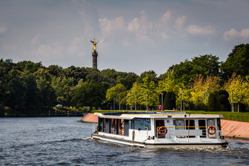 View on Victory Column in Tiergarten Park from Spree River, Berl