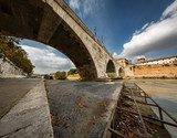 Panorama of Tiber Island and Cestius Bridge over Tiber River, Ro