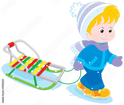Child with a sleigh