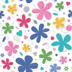 colorful hearts and flowers pattern on white background