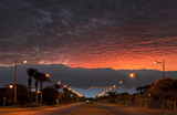 Dramatic sunrise at the local street in Eilat, Israel