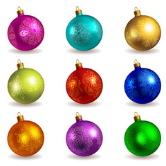 Set of bright colored photorealistic christmas balls