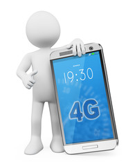3D white people. 4G LTE mobile phone