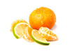 Fresh mandarin with lime isolated on white background