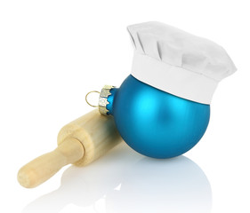 Christmas ball with chef hat and rolling pin