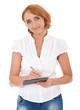 Frau mittleren Alters macht sich Notizen