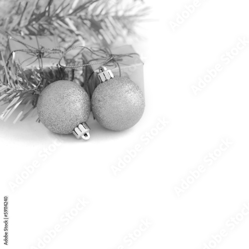Two Gray Ball with Gift Box New Year and Christmas