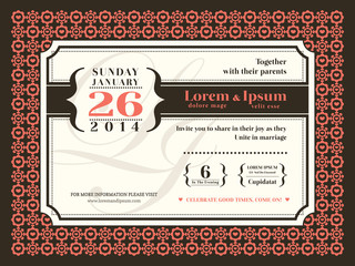 Wedding invitation background with border and frame