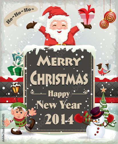 Vintage Christmas cupcake poster design with Santa Claus