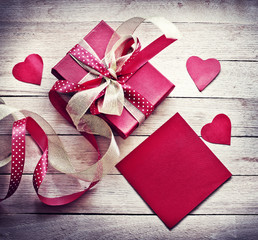 Valentines Day gift, hearts and greeting card