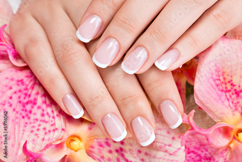 Poster, Tablou Beautiful woman's nails with french manicure
