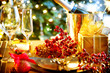 Christmas And New Year Holiday Table Setting with Champagne