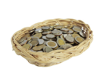 pot of coins isolated on white