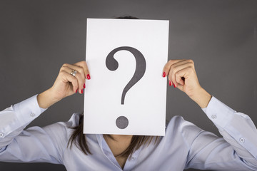 Woman having no answers to a question