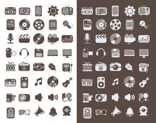 Multimedia flat icons set 3