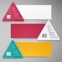 Vector triangle background. Color banner and infographics