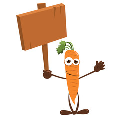 Funny Carrot Pointing a Blackboard