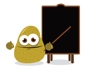 funny potato and a blackboard