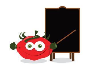 Funny tomato and a blackboard