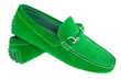 Pair of green men shoes isolated over white