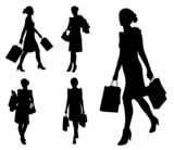 women with shopping bags silhouettes - vector