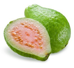 Guava with a half isolated on white