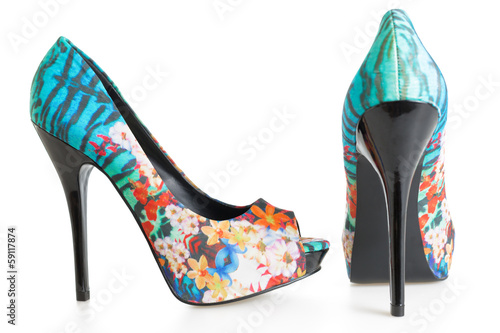 Beautiful multicolored stiletto shoes on white