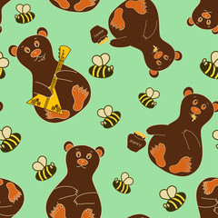 Seamless pattern with bears and bees