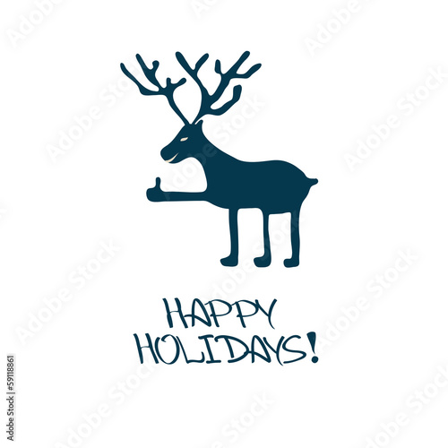 Christmas and New Year card with deer