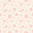Pink seamless pattern with birds and flowers
