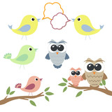 Set of owls and birds with speech bubbles