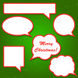 Set of bright red speech bubbles for your  Christmas design