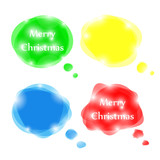 Set of bright vector speech bubbles for Christmas design