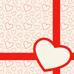 Lovely red card with hearts