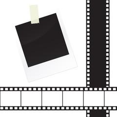 Photo frame sticker with tape and film strip frame set