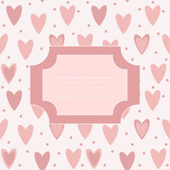 Cute unique post card with pink hearts and dots