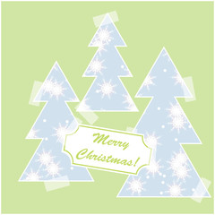 Merry Christmas card with snow and christmas trees