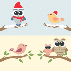Set of owls and birds sitting on branch