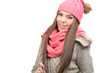 Fashion model - winter clothes, hats, scarves, in indoor