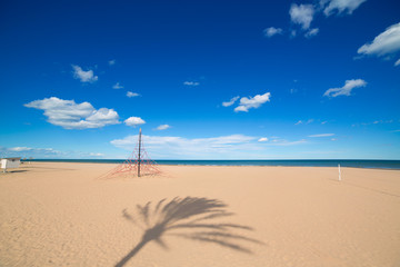 Gandia Beach sand in Mediterranean Sea of Spain