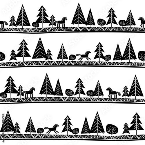 Seamless pattern with horses and trees