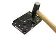 Leinwanddruck Bild - Festplatte zerstören - Datensicherheit