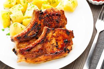 Fried pork loin with potato